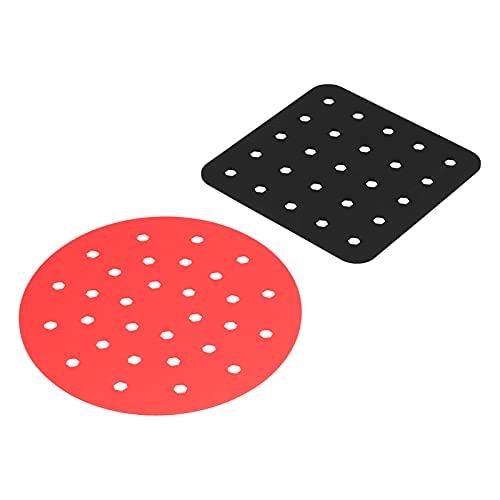Alfombrillas de freidora de aire, antiadherentes de silicona, diseño perforado, se adapta a la olla para freír al aire y hornear al horno (cuadrado negro + círculo rojo)