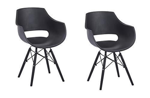 SAM 2er Set Schalenstuhl Lea, Schwarz, ergonomisch geformte Sitzschale aus Kunststoff, bequemer Esszimmerstuhl im Retro-Design, Metallgestell schwarz