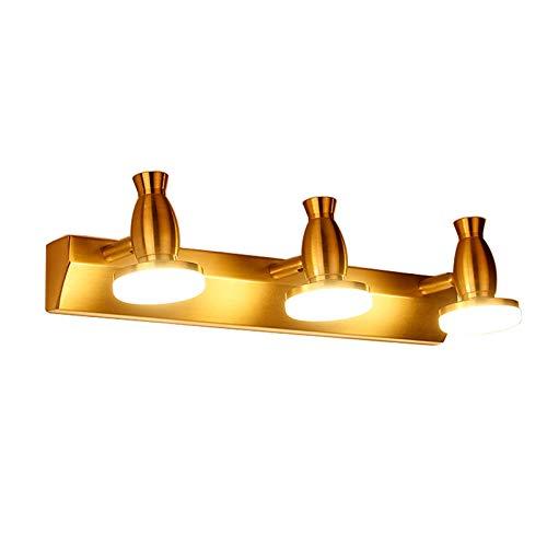 DESLP Aplique Espejo Baño LED, Lampara de Espejo Baño Retro con Cabeza de Lámpara Giratoria, Blanco Cálido 3000K, Luz Espejo Bronce Lámpara Armario para Dormitorio,3 lights 48cm 9w