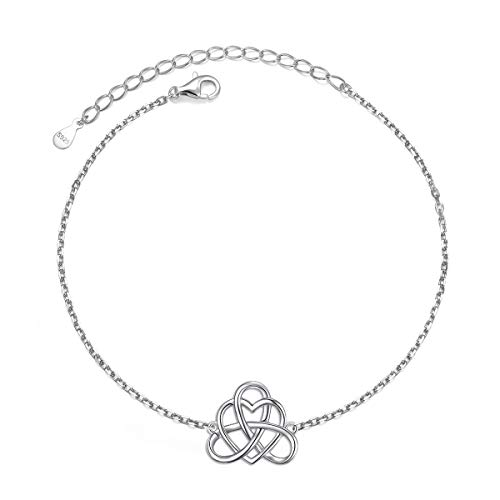 925 Sterling Silver Good Luck Vintage Irish Celtic Love Knot Heart Bracelet Protection Gift for Women Teens, 7+2 inch