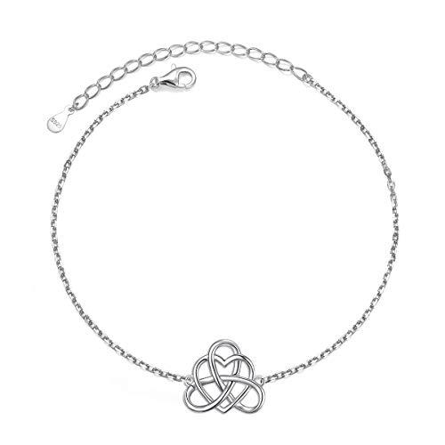925 Sterling Silver Good Luck Vintage Irish Celtic Love Knot Heart Bracelet Protection Gift for Women Girls, 7+2 inch