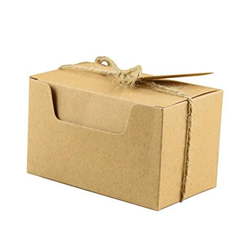 MVAOHGN 100 unids Kraft Caja de Papel Bolsa de Embalaje Baby Shower Boda favores y Regalos Caja de Regalos para huéspedes Cajas de Galletas Boxes Fiesta Suministro (Gift Box Size : 10x6x6cm)