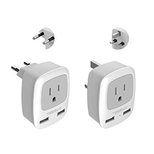 All European Travel Plug Adapter Kit, TESSAN International Power Outlet Adaptor with 2 USB; Type C Type G US to Universal of Europe EU Spain Germany France Italy Ireland UK England Scotland