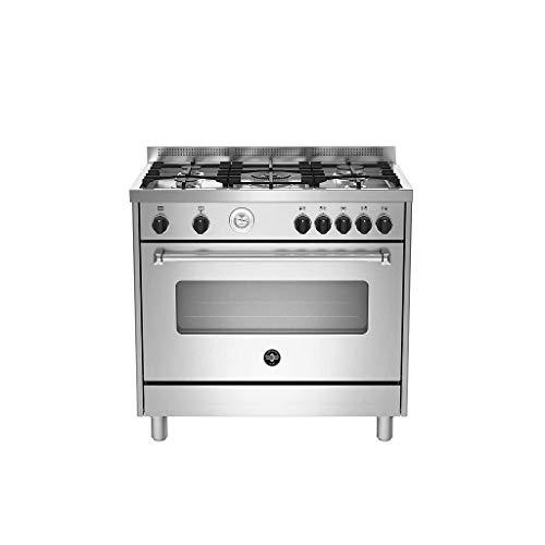 Bertazzoni La Germania Americana AMN965EXT - Cocina (Cocina independiente, Acero inoxidable, Giratorio, Negro, Frente, Analógica)
