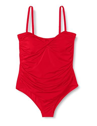 Amazon-Marke: Iris & Lilly Damen Shaping-Badeanzug mit Wickeldesign, Rot (Red), XXL, Label: XXL