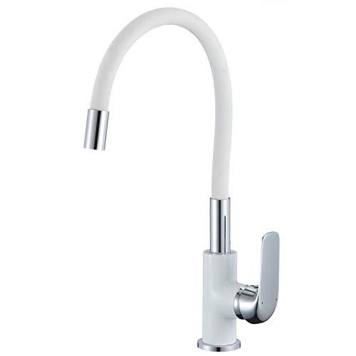Grifo de cocina giratorio 360°, flexible, color blanco