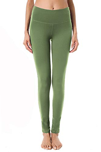 QUEENIEKE Yoga Leggings mit Tasche Klassische Bauchkontrolle Mittlere Taille Laufhose Workout Sporthose für Damen Farbe Armee-Grün Größe S(4/6)