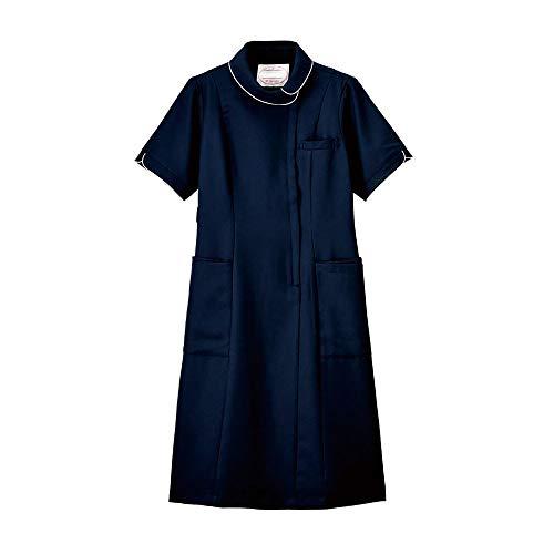 ナースリーエアリーテクスチャー 花ロールカラーワンピース ナース 看護師用 女性用 白衣 エステ 美容 受付 制服 透けにくい 防シワ 抗菌 防臭 ストレッチ 吸汗 速乾 UVカット L ミッドナイトブルー 9164304A