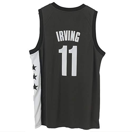 OLJB Kyrie Irving Brooklyn Nets # 11 - Camiseta de baloncesto sin mangas, diseño bordado de punto de baloncesto transpirable, secado rápido, regalo de elección negro-S