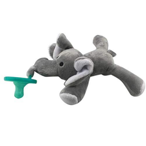 KingbeefLIU Baby Schnuller und Bei?ringe Bei?ringe,Reizender Baby-Nippel-S?uglingssilikon-Schnuller mit Karikatur-Tierpl¨¹sch-Puppen-Spielzeug - Elefant