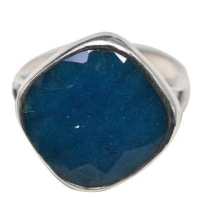 Anello in argento Sterling 925 avventurina blu, forma quadrata, misura 9