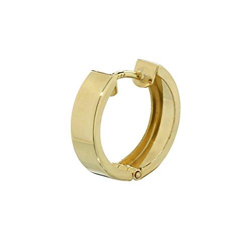 NKlaus Einzel 333er 8 Karat Gold gelbgold Klappcreole Ohrring 12,4 x 3,2mm glänzend Quadratisch 4746