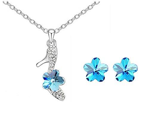 Lovelegis Parure Gioielli - Collana - Orecchini da Donna - Scarpa - Strass - Fiore - Colore Blu