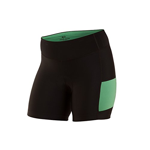 PEARL IZUMI Women's Escape Sugar Shorts, Black/Green Spruce, X-Small
