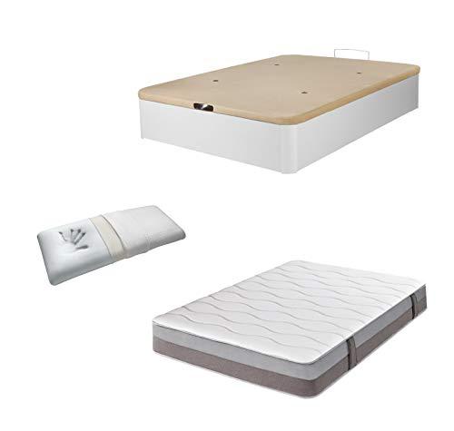 DHOME Pack Canape abatible tapizado 3D Madera + Colchón viscografeno, Reversible mas Almohada viscoelastica (105x190 Blanco,...