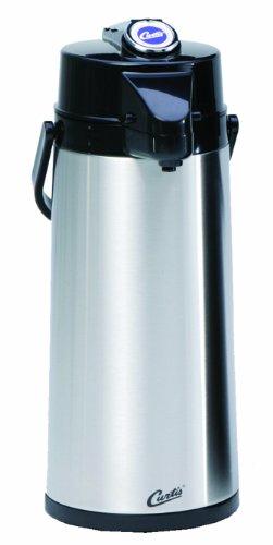 Wilbur Curtis Thermal Dispenser Air Pot 22L SS Body Glass Liner Lever Pump - Commercial Airpot Pourpot Beverage Dispenser - TLXA2201G000 EachSilver