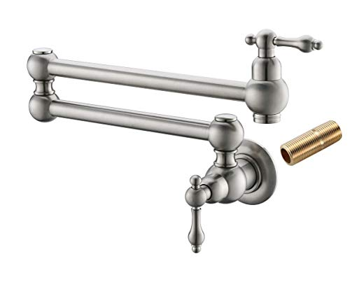 Havin Pot Filler Faucet Wall Mount,with Double Joint Swing Arms,Single Hole, 2 Handles with 2 cartridges to Control Water (Style B HV1003 Brushed Nickel)