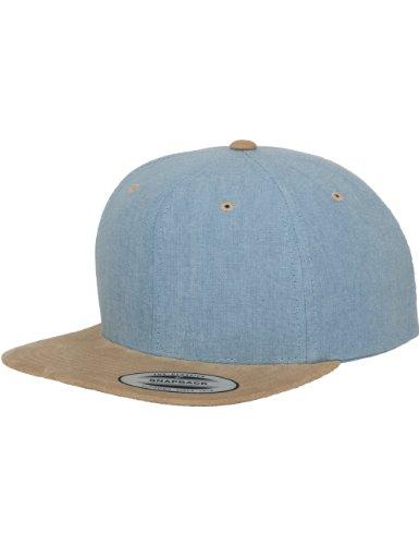 Flexfit Erwachsene Mütze Chambray-suede Snapback, Blue/Beige, One size, 6089CH