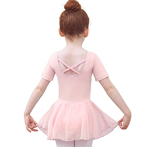 Tancefair Kinder Ballettkleidung Mädchen Ballettkleid Balletttrikot Tanztrikot V-Ausschnitt Kurzarm Kostüm Trikot Baumwolle Tanzkleid mit Chiffon Rock Tütü