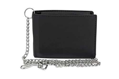 Biker Portemonnaie RFID Portefeuille avec Chaine Femme et Homme très Minces et sécurisé Protection RFID Blocage avec boîte à Cadeau LEAS, Cuir véritable, Noir - LEAS Standard-Collection