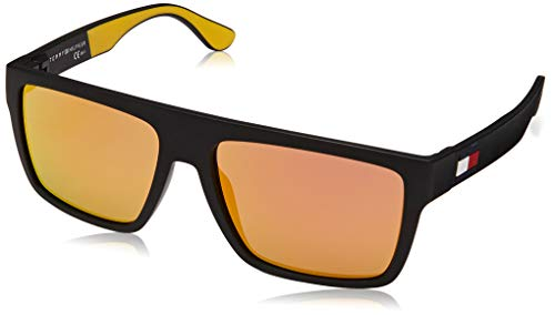 Tommy Hilfiger Men's TH1605/S Square Sunglasses, Black & Yellow, 56 mm