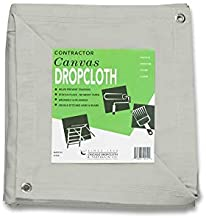 CCS CHICAGO CANVAS & SUPPLY 10 Ounce Canvas Cotton Drop Cloth with Grommets, White, 8 by 10 Feet