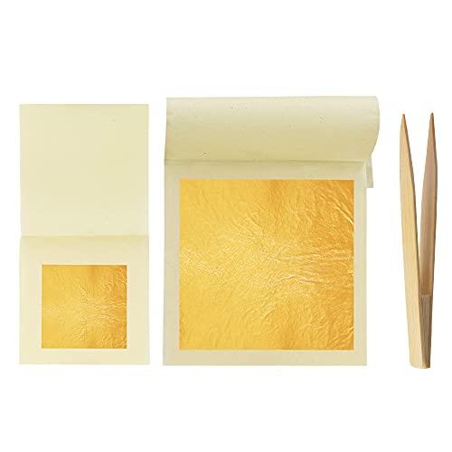 KINNO Hojas de oro comestible de 24 quilates, hojas de oro puro para decoración de alimentos, piel, dorado, arte y manualidades (5 piezas de 4,3 cm + 5 piezas de 8 cm)