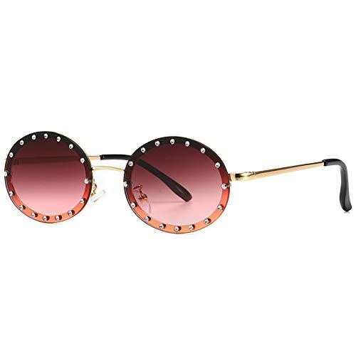 YANPAN Personalidad De La Moda Gafas De Sol De Diamantes Redondos Decoración De Diamantes Femeninos Gafas De Sol De Moda De La Calle Europea Y Americana C5 Marco Dorado Rojo Vino