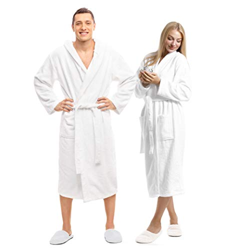 Terry Towels Classic Bath Robe, Premium Spa Robe, one size fits all, White