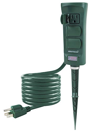 Oviitech 6-Outlet Outdoor Yard Power Stake with Weatherproof Cover and ON/Off Switch, 9 Foot Extension Cord Power Strip, Weather Resistant, ETL Certified, Green