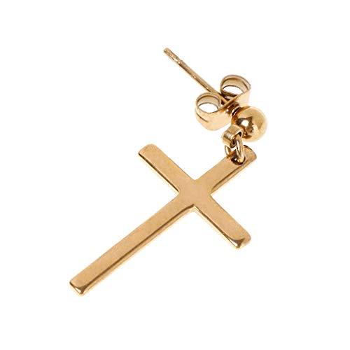 1pc Chic Pendientes Cruz Colgante Hombres Mujer Joyería Regalo Fiesta Estilo de Corea Charm Oro, Plata, Cruz Negra Pendientes Dorados para hombres