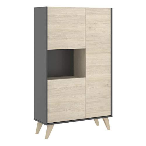 Mobelcenter - Mueble Aparador Alto 3 Puertas - Buffet Moderno - Armario Auxiliar Comedor - Acabado Color Grafito y Natural - Medidas: Ancho: 81 cm x Fondo: 43 cm x Alto: 135 cm - (1087)