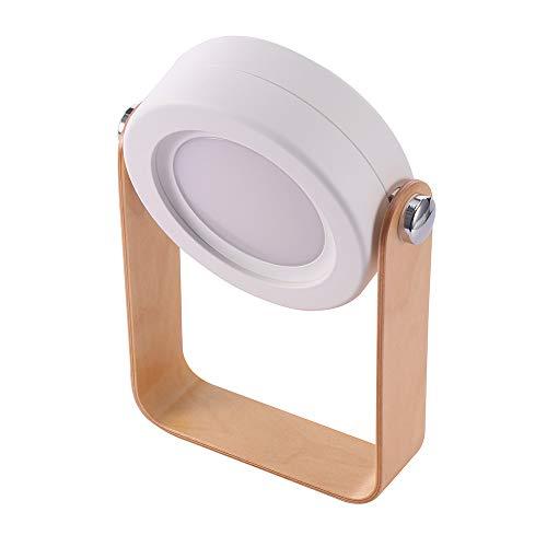 BIOBEY - Lámpara de mesa portátil, plegable, telescópica, luz nocturna LED, mango de madera, 3 niveles de brillo, carga USB (blanco cálido)