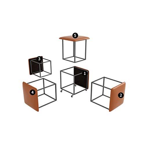 BKWJ Taburete de combinación, 1 taburete se convierte en 5 taburetes, almacenamiento de taburetes de polea para el hogar, taburetes portátiles al aire libre, taburetes de repuesto de zapatos, heces de