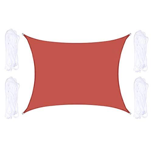 QYQS Vela De Sombra Rectangular Roja Esquinas Reforzadas Duraderas Bordes Y Tela Permeable Vela De Sombra Solar Impermeable (Hacemos Tamaño Personalizado)(Size:2X3m/7X10ft)
