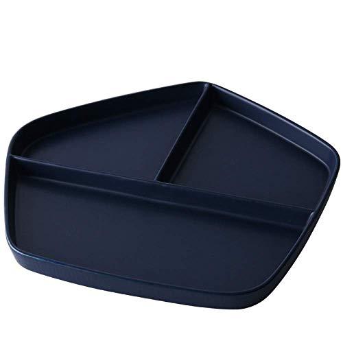 XUSHEN-HU Plato de cerámica GYHJG de estilo japonés con rejilla de cerámica para el desayuno, plato de arroz occidental, plato simple de postre, plato de frutas 28,8 x 27 x 2,3 cm, vintage