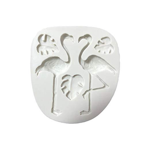 UPKOCH Flamingo Blatt Fondant Form 3D Silikonform Silikon Ausstechformen Backform für Tropical Hawaii Party Deko (Grau)