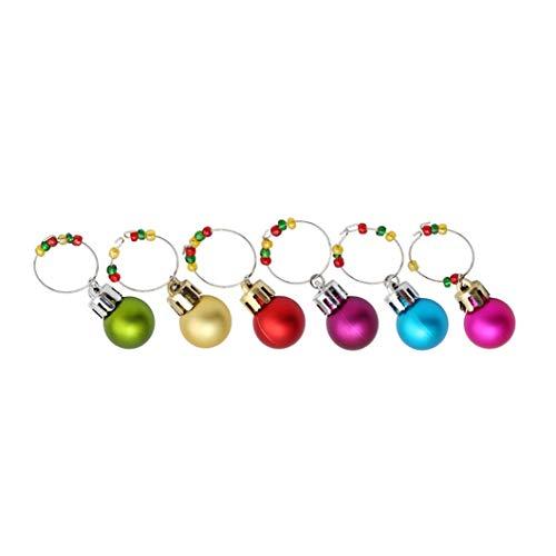 Ogquaton 6 Piezas Coloridas Bolas de Navidad Copa de Vino encantos Marcador Etiquetas Set Bar Mesa Fiesta...