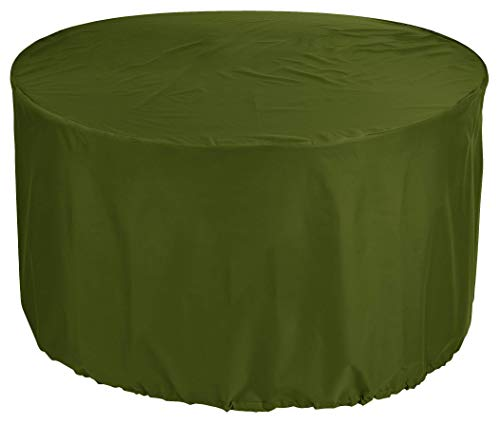 YULIAN kbPremium Tarpaulin Round Garden Table Cover Ø 195x95 cm Outdoor Daybed Cover Outdoor Furniture Cover Table and Chair Dust Cover Waterproof Round Patio Table Cover 600D Oxford Fabric Olive
