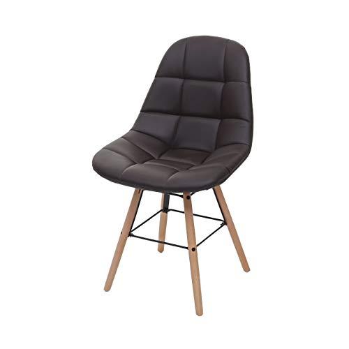 Mendler Esszimmerstuhl HWC-A60 II, Stuhl Küchenstuhl, Retro 50er Jahre Design - Kunstleder braun
