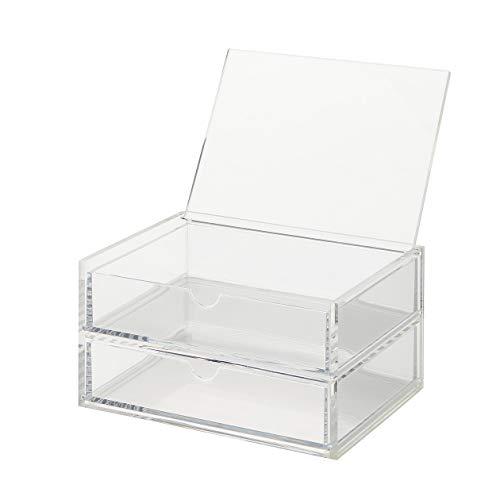 Muji Stapelbare 2-Reihige Schublade Aus Acryl Mit Deckel, 17,5 cm Breite x 13 cm Tiefe x 9,5 cm Höhe