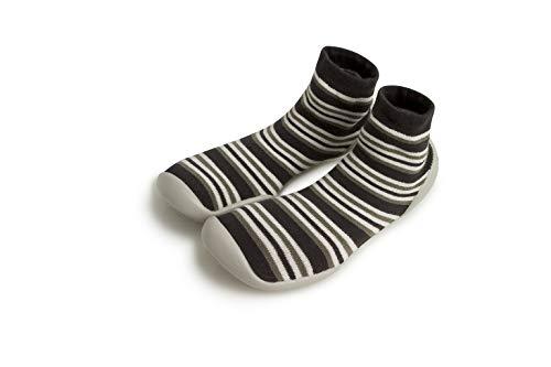 Collegien Hippie Hausschuhe Socken schwarz mit Streifen Gr. 26/27
