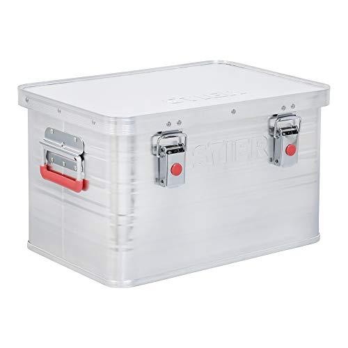 STIER Alubox, Aluminiumbox 30L, Staub- und spritzwasserresistent mit Gummidichtung und 2 Klapphandgriffen, Transportkiste