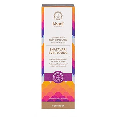 khadi Ayurvedisches Elixier Skin & Soul Oil I SHATAVARI EVERYOUNG I Intensives Anti-Aging-Öl, strafft, verjüngt und revitalisiert I 100% natürlich & vegan I Zertifizierte Naturkosmetik I 100ml