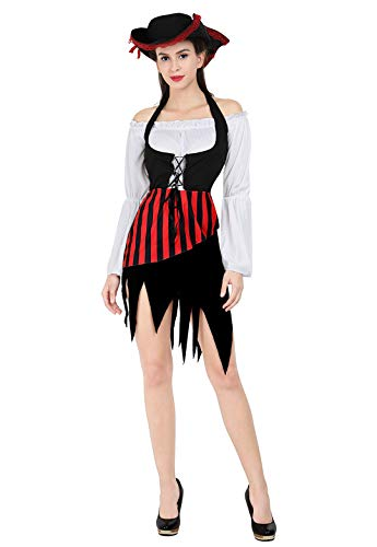 Women's Pirate Costume Sweet Buccaneer Pirate Dress Skirt Halloween Roleplay Cosplay Dress Up Maiden Costumes Red Large
