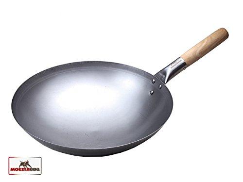 Moesta-BBQ 10121 Wok 35 cm avec poignée en bois pour WOK'N BBQ – Poêle Wok en acier de qualité supérieure