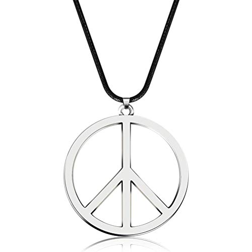 Comtervi Peace Kette Metall John Lennon Bekleidung Hippie Kostüm 70er 80er Jahre Accessoires Halskette Verkleidung Badtaste Fasching Karneval Kostüm Damen und Herren