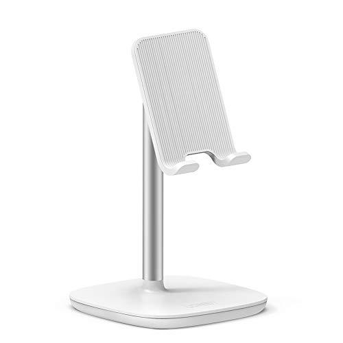 UGREEN Soporte Móvil Mesa, Soporte Teléfono Ajustable para E-Readers, iPhone XR, Samsung S10, Xiaomi Mi 9, Huawei P20 Mate 20, y Otros tabletes y moviles (Blanco)