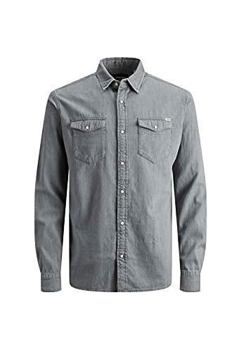 JACK & JONES Jjesheridan Shirt L/s Camisa Vaquera, Gris (Light Grey Denim Fit:Slim), Medium para Hombre