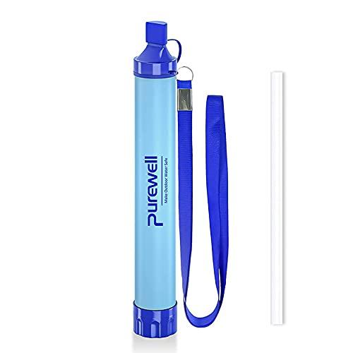 Purewell Outdoor Wasserfilter Persönliche Wasserfiltration Stroh Notfall Survival Gear Wasseraufbereiter für Camping Wandern Klettern Rucksackreisen